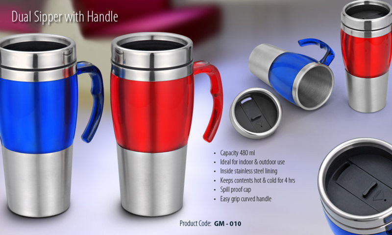 DUAL SIPPER WITH HANDLE Wholesale Gifts