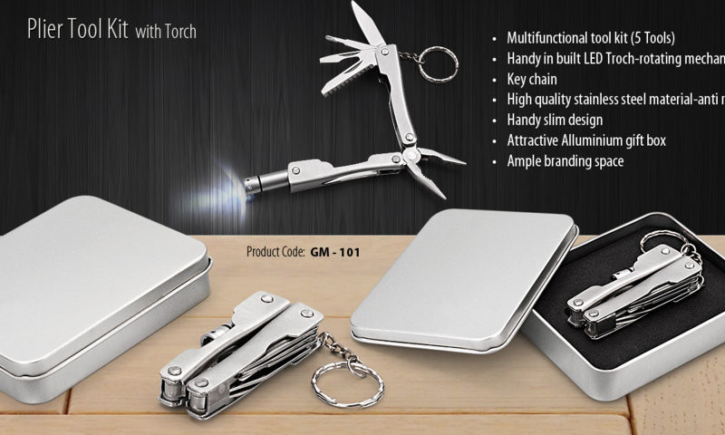 PLIER TOOL KIT WITH TORCH IN ALUMINIUM BOX