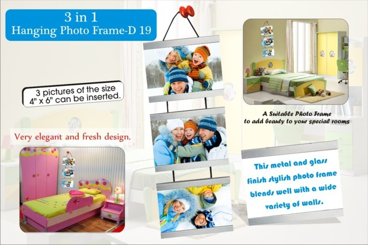3 in 1 hanging metal photo frame