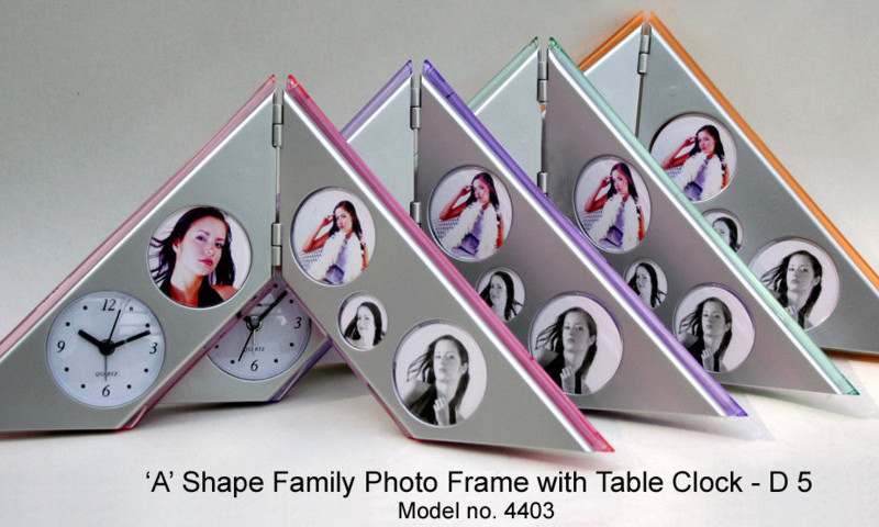 A-Type Family Photo Frame with Table Clock