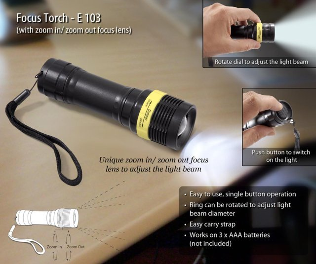 Focus torch (with zoom in / zoom out lens)