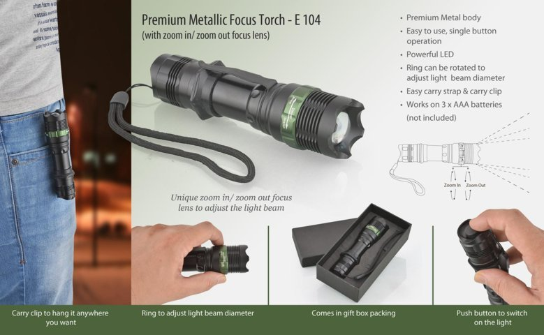 Metal focus torch (Premium) (with zoom in / zoom out lens)