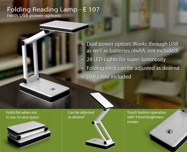 Folding lamp with USB (3 step touch)