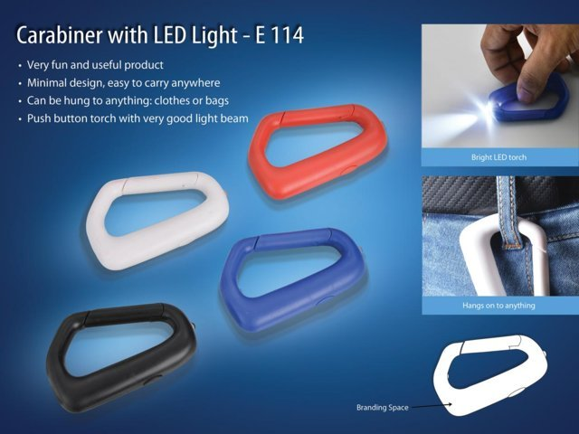 Carabiner with LED light (with battery)