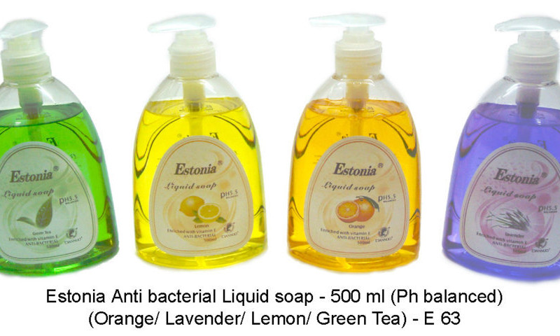 Estonia Anti bacterial Liquid soap - 500 ml (Ph balanced) (Available in assorted fragrances of Orange/ Lavender/ Lemon/ Green Tea)