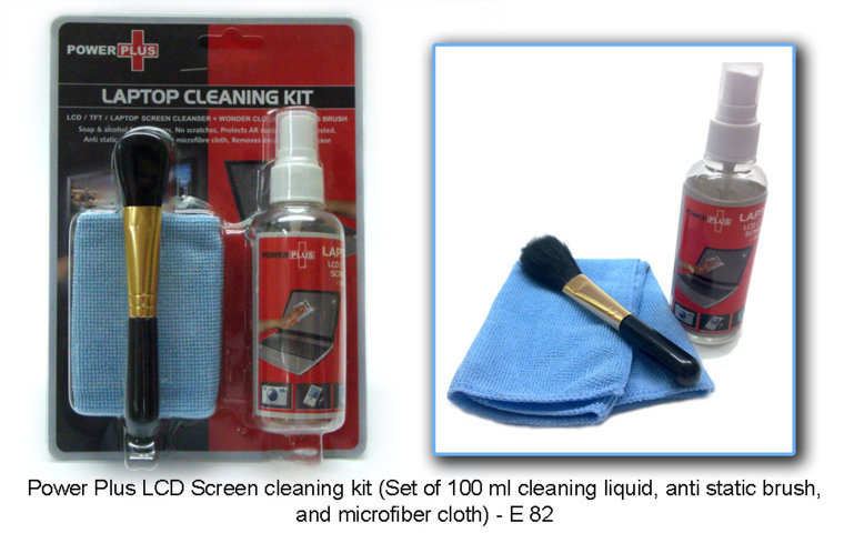 Power Plus LCD Screen cleaning kit (Set of 100 ml cleaning liquid,anti static brush, and a microfiber cloth)