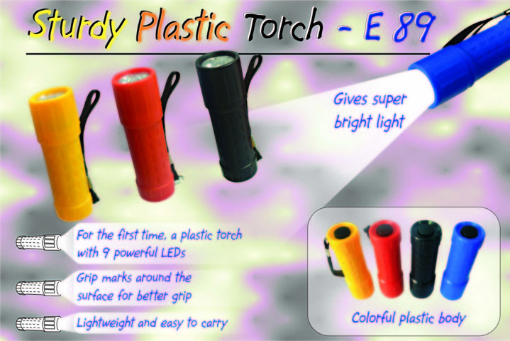 Sturdy Plastic Torch (9 LED)