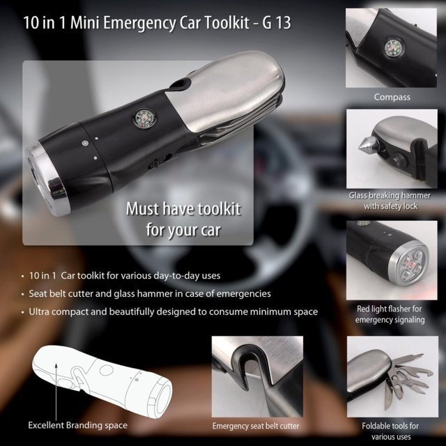 Mini Emergency car toolkit (with LED torch, Red light flasher, Glass window breaker, Seat belt cutter, Pliers, Scissors, Screwdriver)