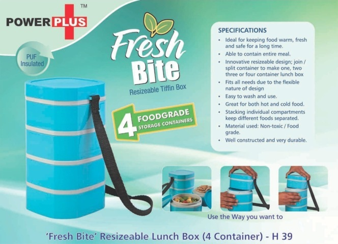 Power plus Fresh bite 'Resizeable' Lunch box - 4containers