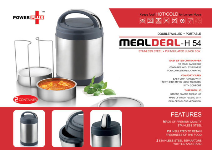 Power plus 'Meal Deal' insulated SS Lunch box (with stainless steel containers) - 2 containers