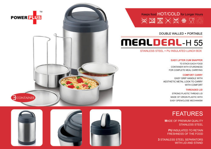 Power plus 'Meal Deal' insulated SS Lunch box (with stainless steel containers) - 3 containers