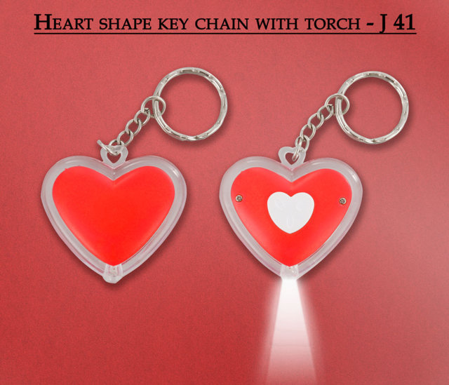 Heart shape key chain with torch