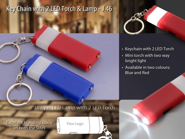 Keychain with 2 LED torch and lamp