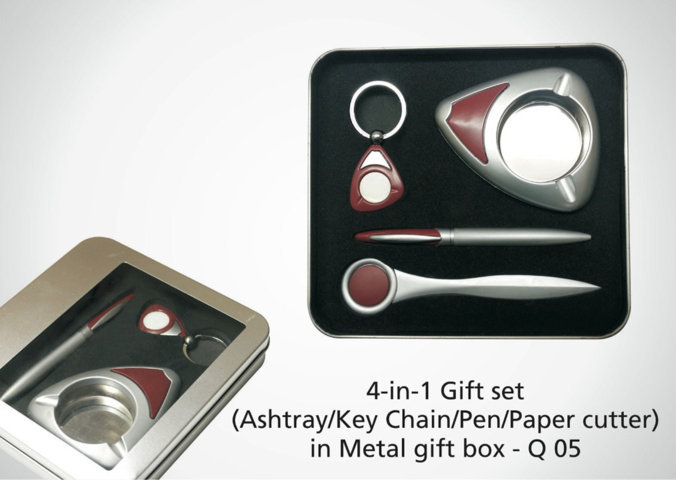 4 in 1 Gift Set (Key chain/paper cutter/pen/ashtray)