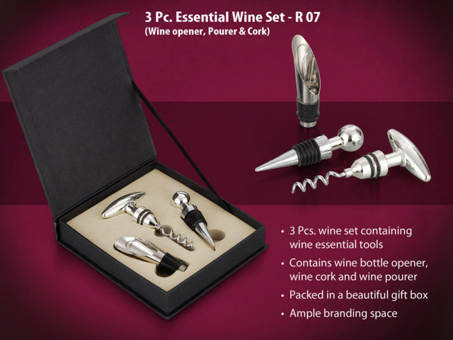 3 pc essential wine set (Wine opener/ Pourer/ Cork)