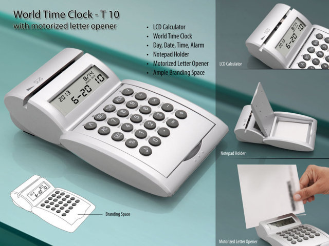 World time calendar Clock/ Calculator/ Motorized Letter opener/Pad holder