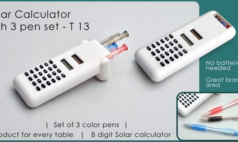Solar calculator with 3 pen set