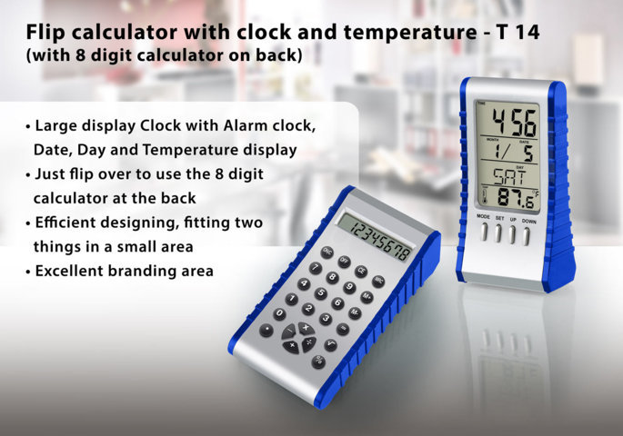 Flip calculator with clock and temperature