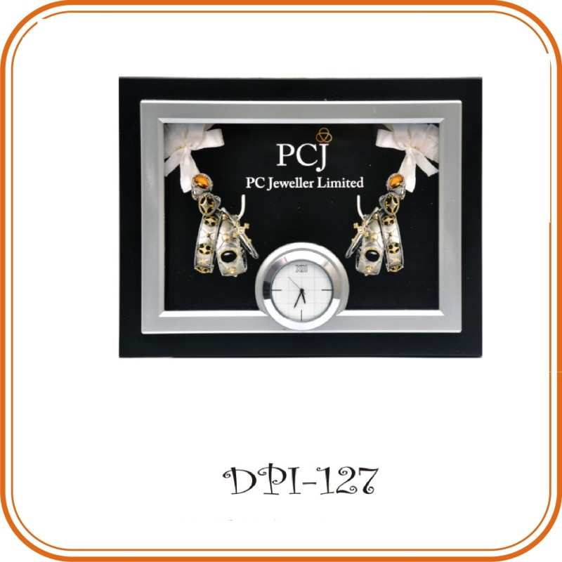 Double Color Table Clock Photo Frame