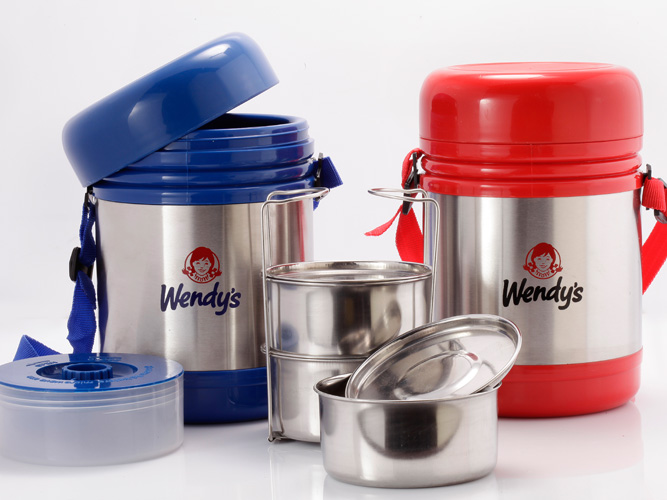 Stainless Steel Lunch Box - Red , Blue