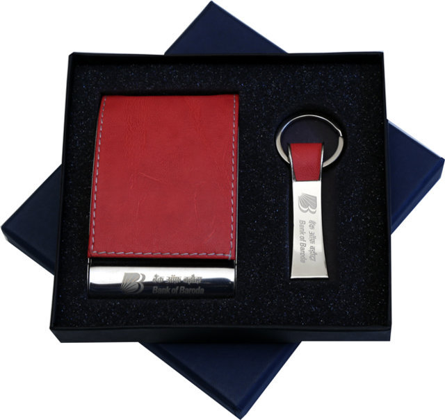 Customised 2 Pc Gift Set - Card Holder & Key Chain - Bank of Baroda