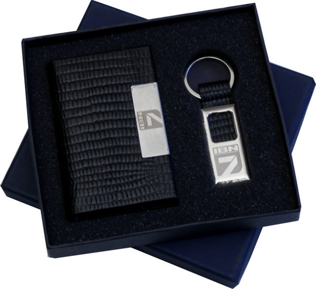 Customised 2 Pc Gift Set - Card Holder & Key Chain - IBN7