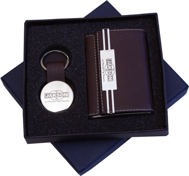 Customised 2 Pc Gift Set - Card Holder & Key Chain - Jackson(Leather)