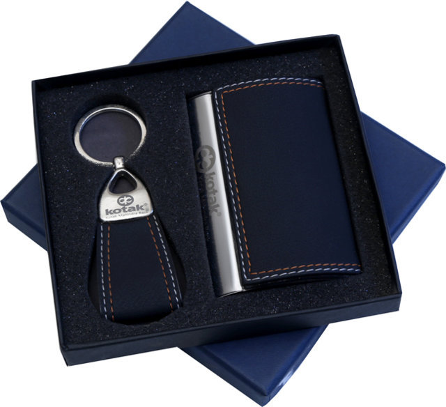 Customised 2 Pc Gift Set - Card Holder & Key Chain - Kotak