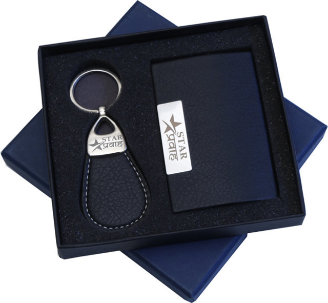 Customised 2 Pc Gift Set - Card Holder & Key Chain - Star PArva