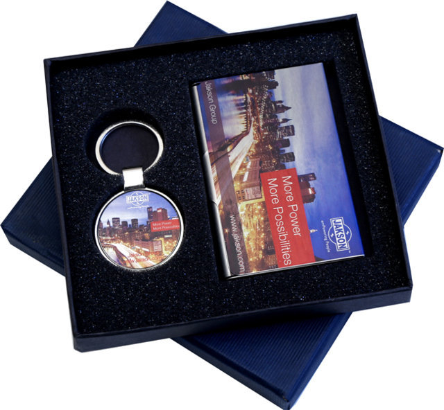 Customised 2 Pc Gift Set - Card Holder & Key Chain - JAckson( Color Print)