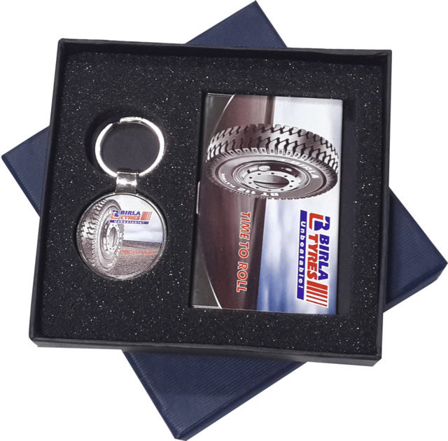 Customised 2 Pc Gift Set - Card Holder & Key Chain - Birla Tyres