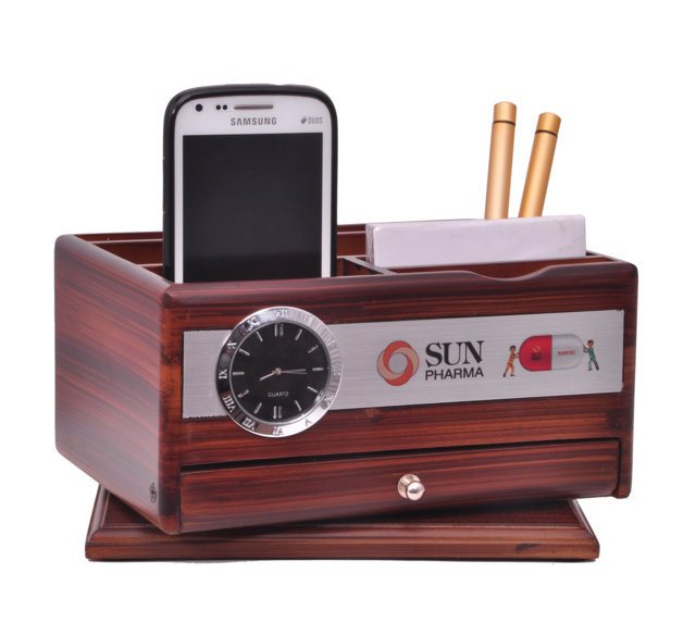 Customised Revolving Penstand Multipurpose with Calculator and Drawer- Sun Pharma