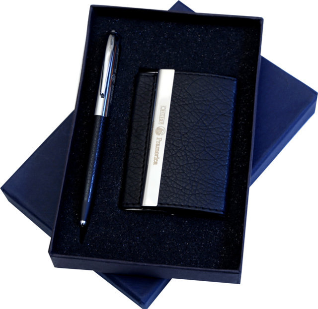 Customised 2 Pc Gift Set - Card Holder & Pen- DLF Premica