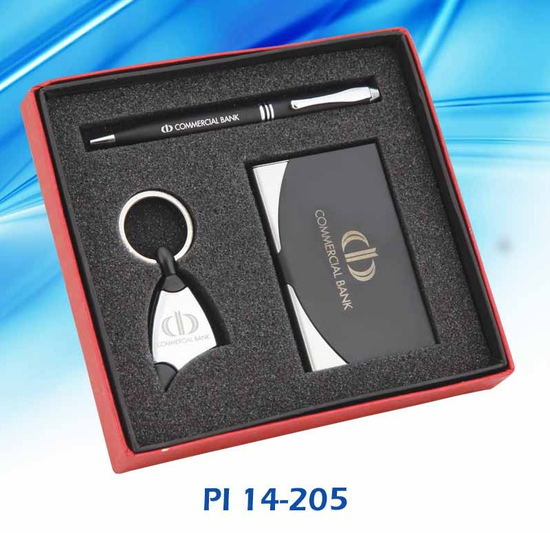 Customised 3 Pc Gift Set - Visiting Card , Pen & Key Chain - Commercial Bank