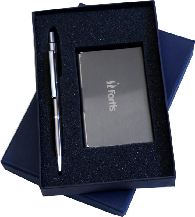 Customised 2 Pc Gift Set - Card Holder & Pen- Fortis