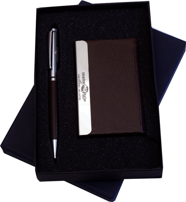 Customised 2 Pc Gift Set - Card Holder & Pen- Make My Trip