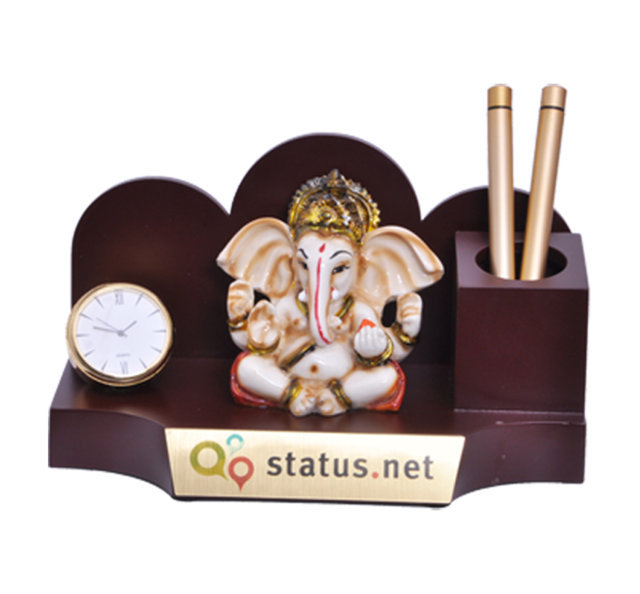 Customised Penstand with Ganeshji Murti and Golden watch - STATUS NET