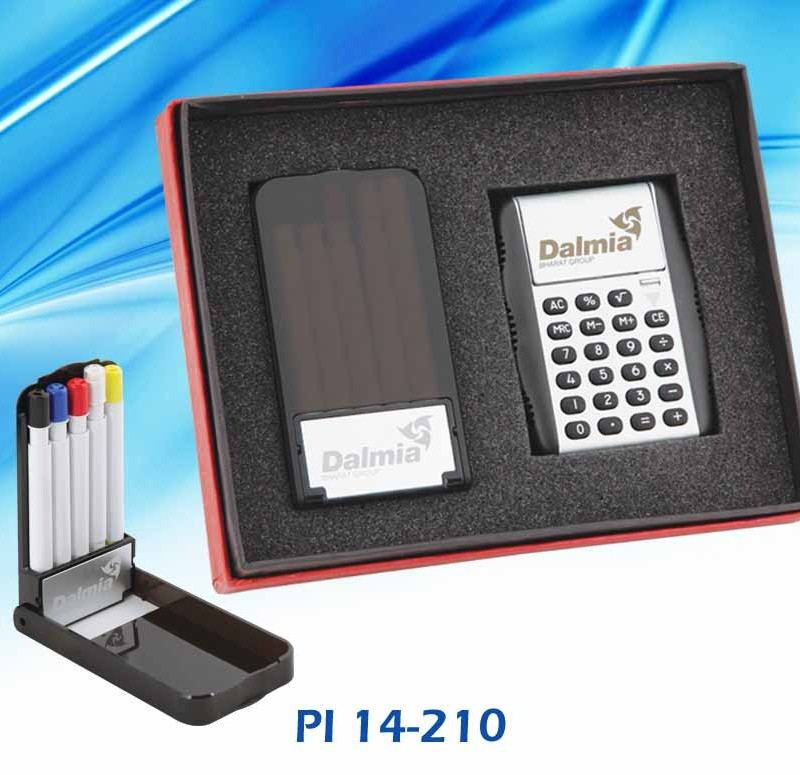 Customised 2 Pc Gift Set - Calculator & Pen Stand- Dalmia