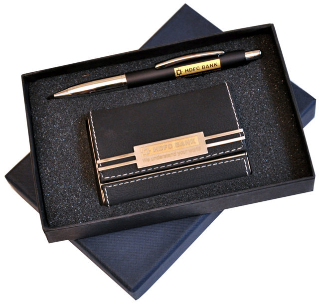Customised 2 Pc Gift Set - Card Holder & Pen- HDFC