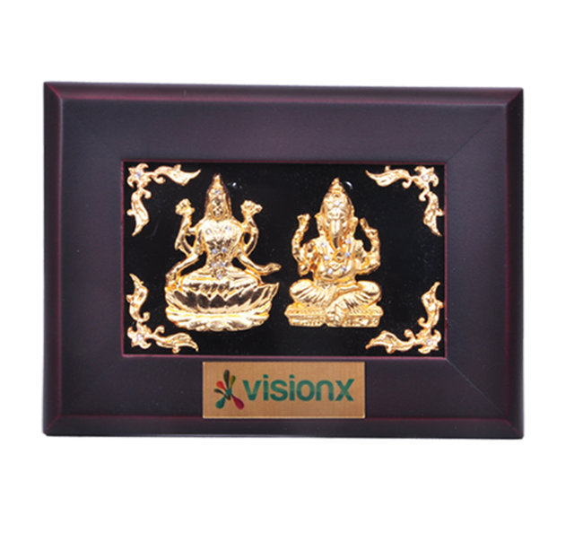Customised Photoframe Laxmi Ganeshji Gold Plated - VISIONX