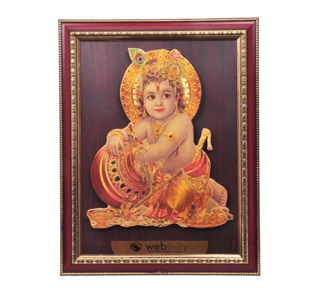 "Customised Golden Photoframe with Gold Plated Picture 18½"" x 14½""-WEBTIVITY"