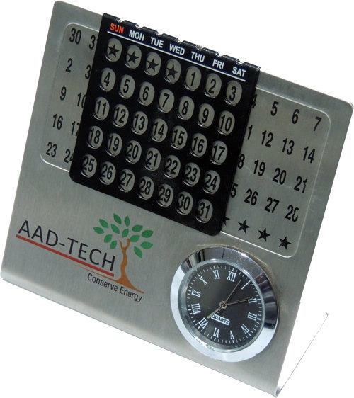 Customised Steel Calendar With Table Clock- Model Add Tech